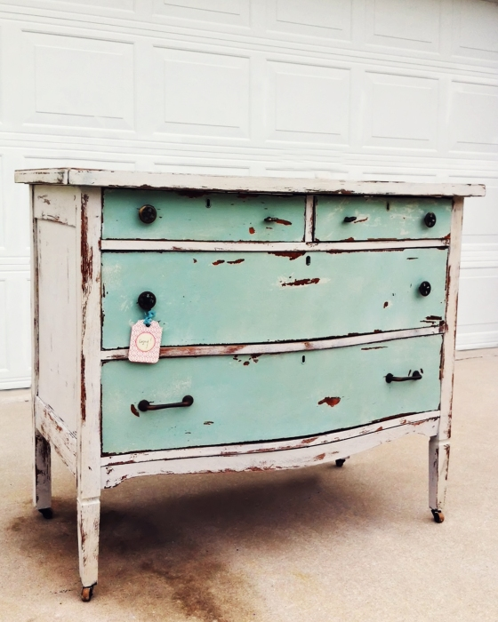 shabby cream and green chest1